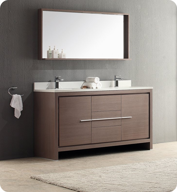 60 Double Sink Bathroom Vanity. Fresca FVN8119GO Allier 60  Gray Oak Modern Double Sink Bathroom Vanity