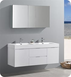 "Fresca FVN8360WH-D Valencia 60"" Glossy White Wall Hung Double Sink Modern Bathroom Vanity with Medicine Cabinet"