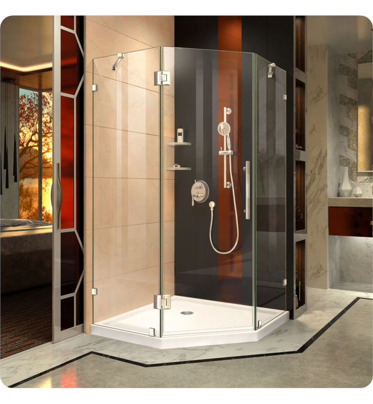 "DreamLine SHEN-2240400-01 Prism Lux Frameless Hinged Shower Enclosure With Finish: Chrome And Dimensions: D 40 3/8"" x W 40 3/8"" x H 72"""