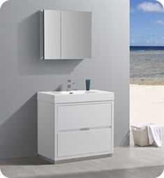 "Fresca FVN8436WH Valencia 36"" Glossy White Free Standing Modern Bathroom Vanity with Medicine Cabinet"
