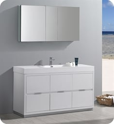 "Fresca FVN8460WH Valencia 60"" Glossy White Free Standing Modern Bathroom Vanity with Medicine Cabinet"