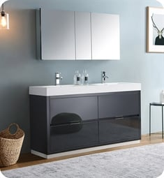 "Fresca FVN8460GG-D Valencia 60"" Dark Slate Gray Free Standing Double Sink Modern Bathroom Vanity with Medicine Cabinet"