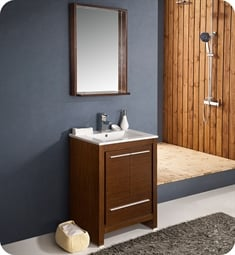 "Fresca FVN8125WG Allier 24"" Modern Bathroom Vanity with Mirror in Wenge Brown"