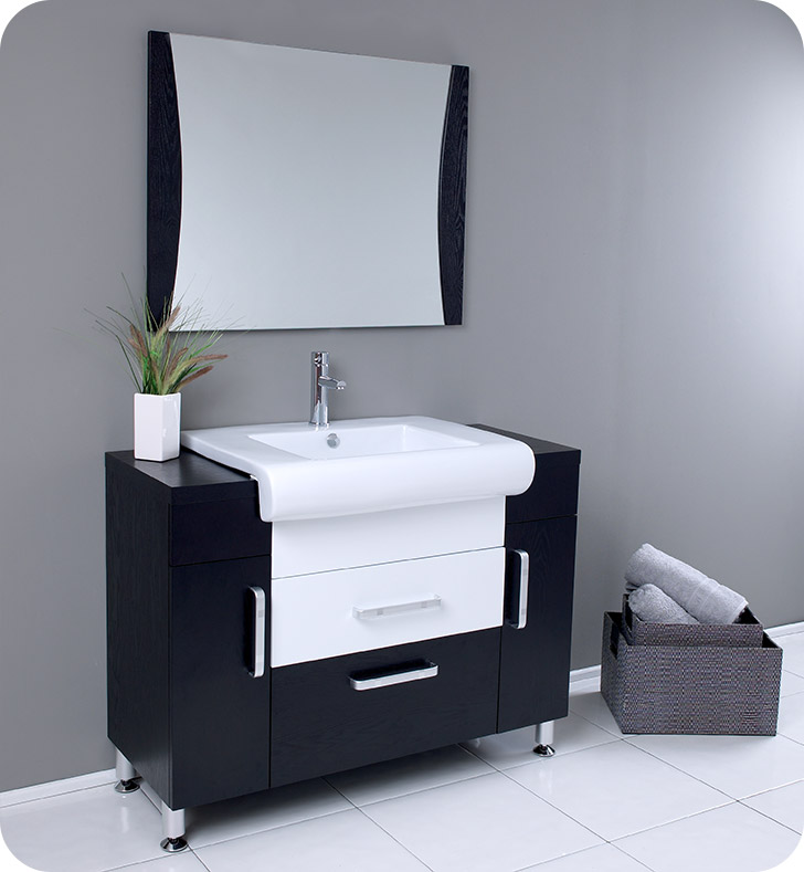 "Fresca FVN3013WG Vita 44"" Modern Bathroom Vanity with Wenge Wood Finish With Faucet: Fresca Fortore Single Hole Mount Bathroom Vanity Faucet in Chrome"