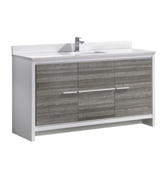 "Fresca FCB8119HA-S-CWH-U Allier Rio 60"" Ash Gray Single Sink Modern Bathroom Vanity with Top & Sink"