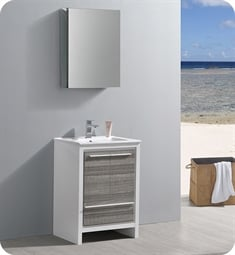 "Fresca FVN8125HA Allier Rio 24"" Ash Gray Modern Bathroom Vanity with Medicine Cabinet"