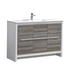 "Fresca FCB8148HA-I Allier Rio 48"" Ash Gray Single Sink Modern Bathroom Cabinet with Sink"