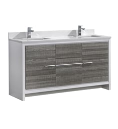 "Fresca FCB8119HA-CWH-U Allier Rio 60"" Ash Gray Double Sink Modern Bathroom Cabinet with Top & Sinks"
