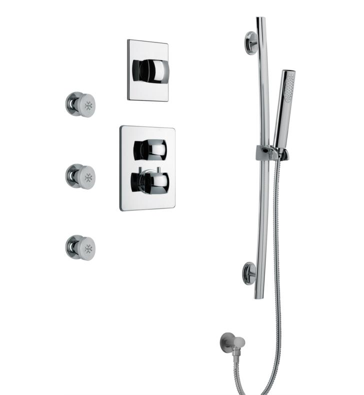 LaToscana LA-OPTION5 Lady Thermostatic Shower System with Slide Bar Kit and Three Body Jets