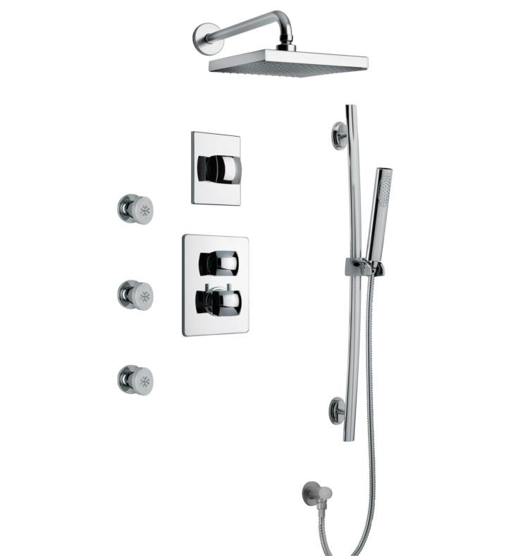 LaToscana LA-OPTION7 Lady Thermostatic Shower System with Three Way Diverter and Three Body Jets