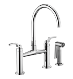 Brizo 62544LF Litze Bridge Kitchen Faucet with Arc Spout and Industrial Handle