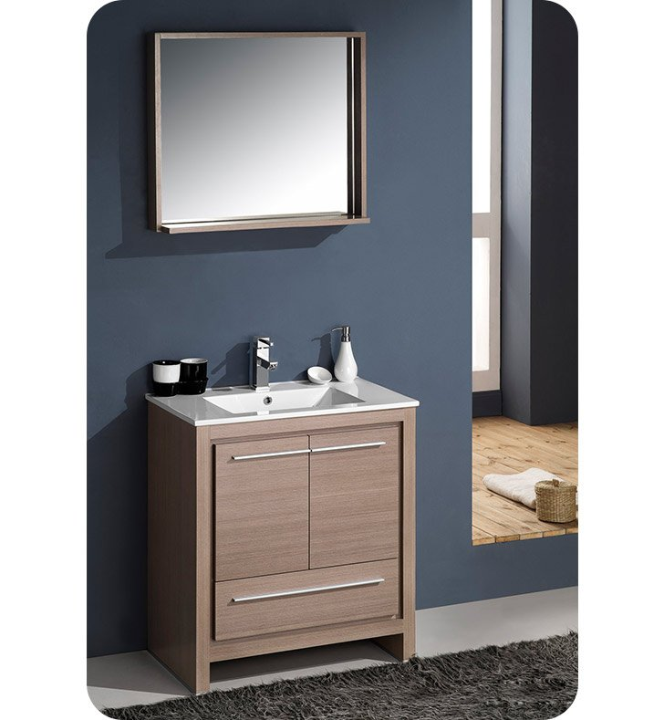 Fresca fvn8130go allier 30 modern bathroom vanity with for Wenge bathroom mirror
