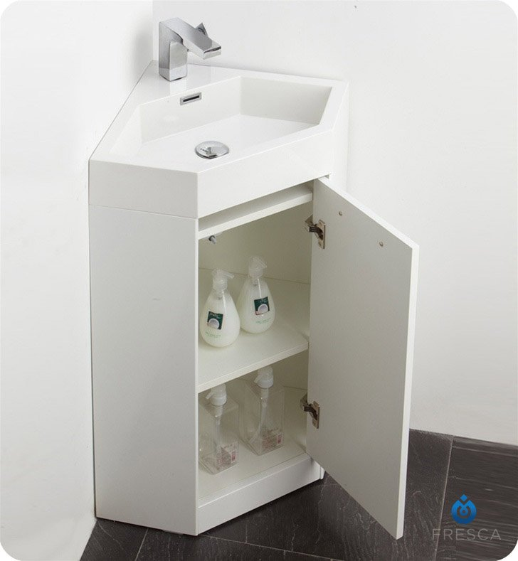 corner bathroom vanity sink. Your Cart Fresca FVN5084WH Coda 18  Modern Corner Bathroom Vanity in White
