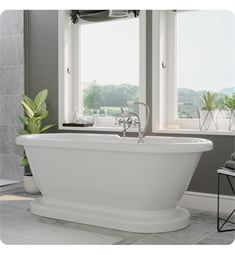 "Cambridge Plumbing ADEP60-463D-6-PKG-7DH Acrylic 60"" Freestanding Double Ended Pedestal Bathtub with CAM463D-6 Tub Filler"