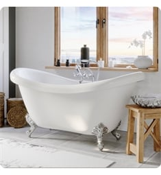 "Cambridge Plumbing ADES-398463-PKG-NH Acrylic 68"" Freestanding Double Ended Slipper Clawfoot Bathtub with CAM463 Tub Filler"