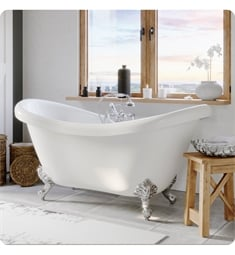 "Cambridge Plumbing ADES-463D-2-PKG-7DH Acrylic 68"" Freestanding Double Ended Slipper Clawfoot Bathtub with CAM463D-2 Tub Filler"