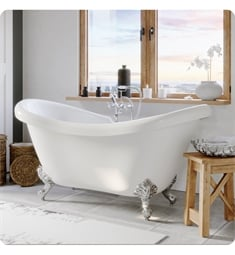 "Cambridge Plumbing ADES-463D-6-PKG-7DH Acrylic 68"" Freestanding Double Ended Slipper Clawfoot Bathtub with CAM463D-6 Tub Filler"