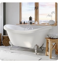 "Cambridge Plumbing ADES-684D-PKG-7DH Acrylic 68"" Freestanding Double Ended Slipper Clawfoot Bathtub with CAM684D Tub Filler"