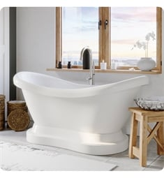 "Cambridge Plumbing ADES-PED-150-PKG-NH Acrylic 67 3/4"" Freestanding Double Ended Pedestal Bathtub with CAM150 Tub Filler"