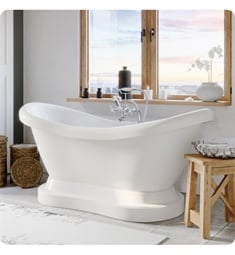 "Cambridge Plumbing ADES-PED-398463-PKG-NH Acrylic 67 3/4"" Freestanding Double Ended Pedestal Bathtub with CAM398463 Tub Filler"