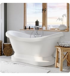 "Cambridge Plumbing ADES-PED-684D-PKG-7DH Acrylic 67 3/4"" Freestanding Double Ended Pedestal Bathtub with CAM684D Gooseneck Tub Filler"
