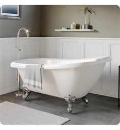"Cambridge Plumbing AST61-150-PKG-NH Acrylic 61 3/4"" Freestanding Double Ended Slipper Clawfoot Bathtub with CAM150 Tub Filler"