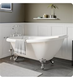 "Cambridge Plumbing AST61-398684-PKG-NH Acrylic 61 3/4"" Freestanding Double Ended Slipper Clawfoot Bathtub with CAM398684 Tub Filler"