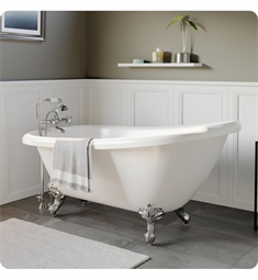 "Cambridge Plumbing AST61-463D-2-PKG-7DH Acrylic 61 3/4"" Freestanding Double Ended Slipper Clawfoot Bathtub with CAM463D-2 Tub Filler"