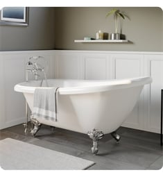 "Cambridge Plumbing AST61-463D-6-PKG-7DH Acrylic 61 3/4"" Freestanding Double Ended Slipper Clawfoot Bathtub with CAM463D-6 Tub Filler"