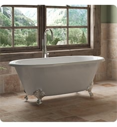 "Cambridge Plumbing DE60-150-PKG-NH Cast Iron 60"" Freestanding Double Ended Clawfoot Bathtub with CAM150 Tub Filler"