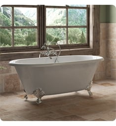 "Cambridge Plumbing DE60-398463-PKG-NH Cast Iron 60"" Freestanding Double Ended Clawfoot Bathtub with CAM398463 Tub Filler"