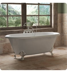 "Cambridge Plumbing DE60-398684-PKG-NH Cast Iron 60"" Freestanding Double Ended Clawfoot Bathtub with CAM398684 Tub Filler"