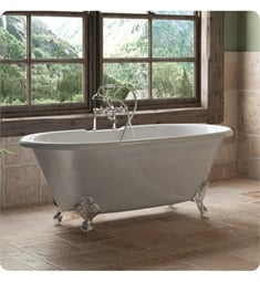 "Cambridge Plumbing DE60-463D-6-PKG-7DH Cast Iron 60"" Freestanding Double Ended Clawfoot Bathtub with CAM463D-6 Tub Filler"