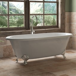 "Cambridge Plumbing DE67-150-PKG-NH Cast Iron 67"" Freestanding Double Ended Clawfoot Bathtub with CAM150 Tub Filler"