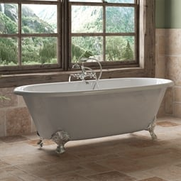 "Cambridge Plumbing DE67-398463-PKG-NH Cast Iron 67"" Freestanding Double Ended Clawfoot Bathtub with CAM463 Tub Filler"