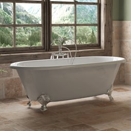 "Cambridge Plumbing DE67-398684-PKG-NH Cast Iron 67"" Freestanding Double Ended Clawfoot Bathtub with CAM684 Tub Filler"