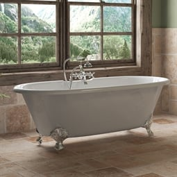 "Cambridge Plumbing DE67-463D-2-PKG-7DH Cast Iron 67"" Freestanding Double Ended Clawfoot Bathtub with CAM463D-2 Tub Filler"