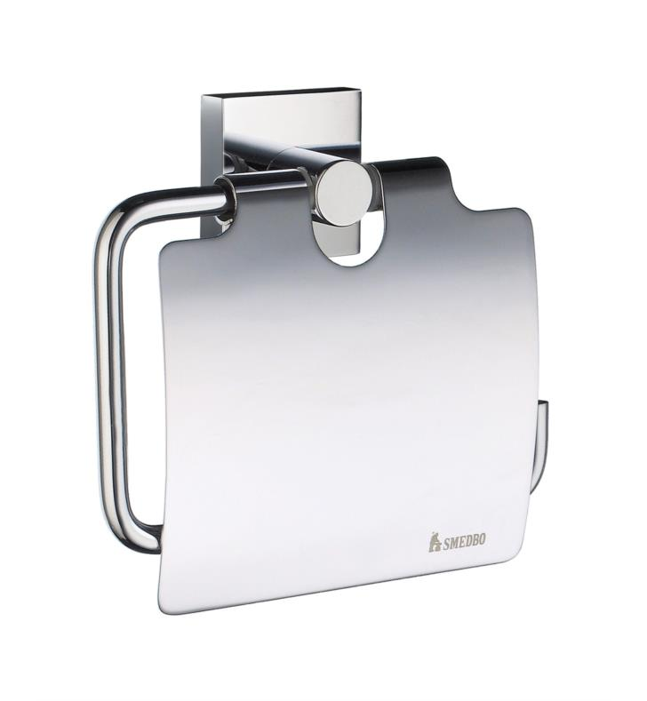 "Smedbo RK3414 House 4 1/2"" Wall Mount Euro Toilet Roll Paper Holder with Lid in Polished Chrome With Finish: Polished Chrome"