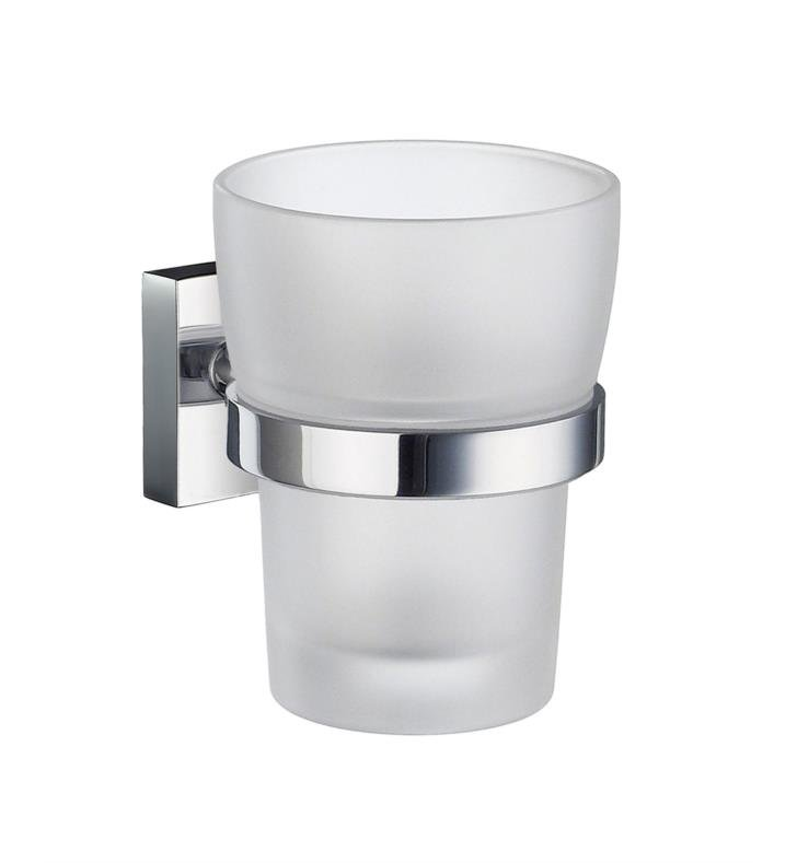 "Smedbo RK343 House 3"" Wall Mount Frosted Glass Tumbler with Holder With Finish: Polished Chrome"