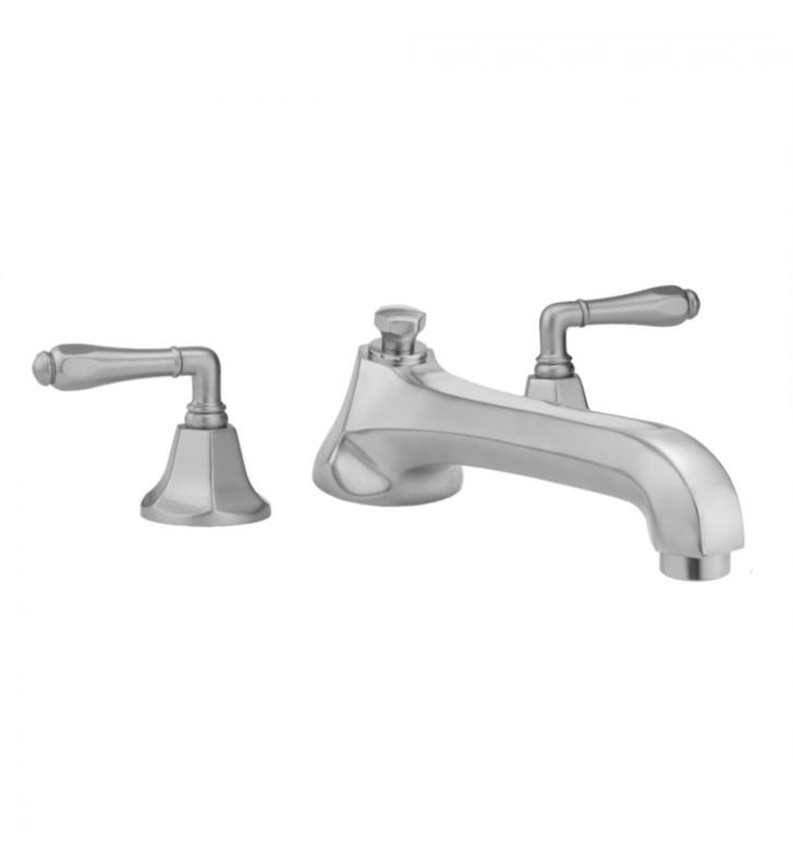 "Jaclo 6970-T684-TRIM-SB Astor 8"" Three Hole Deck Mounted Roman Tub Faucet With Finish: Satin Brass And Handles: Smooth Lever Handles"