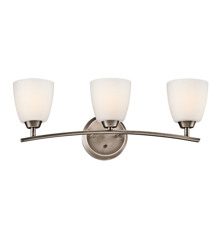 Kichler 45360BPT Granby Collection Bath 3 Light in Brushed Pewter