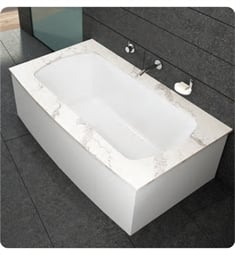 "BainUltra BMOTHB00 Monarch 7238F-Curved 1 Side 72""x38"" Customizable Drop-In Bath Tub"