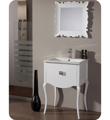 "Fresca Platinum FPVN7512WH Viena 24"" Glossy White Contemporary Bathroom Vanity with Swarovski Handles"