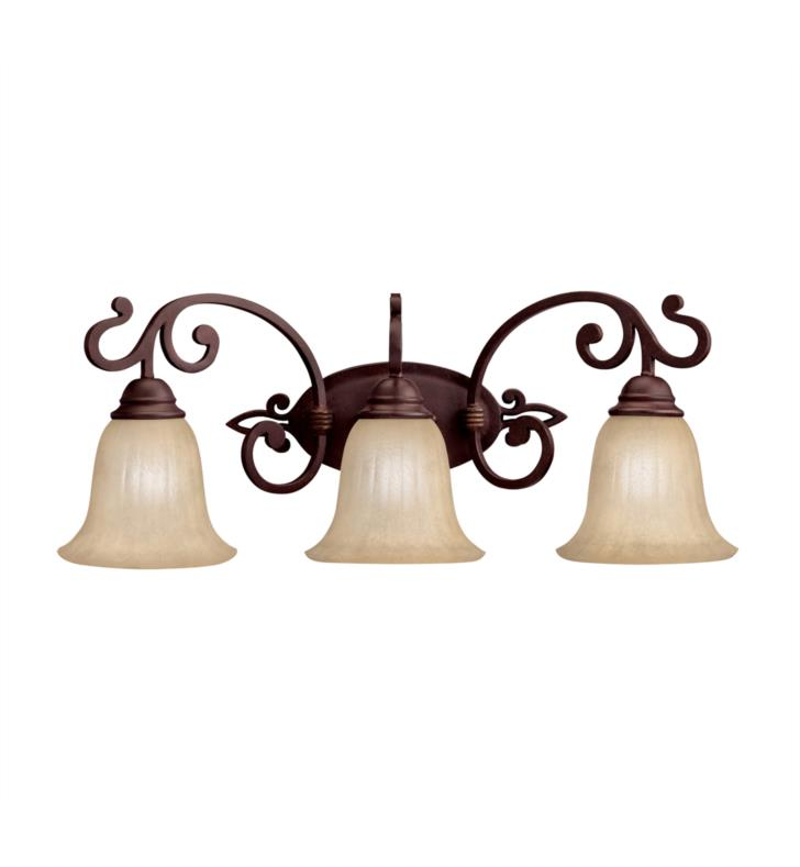 "Kichler 5989CZ Wilton 3 Light 25"" Incandescent Wall Mount Bath Light in Carre Bronze"