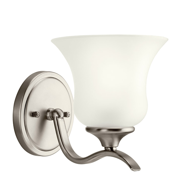 Kichler 10636NI Wedgeport Collection Wall Sconce 1 Light Fluorescent in Brushed Nickel