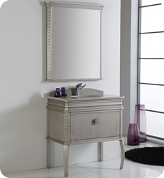 "Fresca Platinum FPVN7524SA London 32"" Antique-Silver Bathroom Vanity with Swarovski Handles"