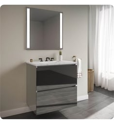 "Robern 24119400B00002 Curated Cartesian 24"" Double Drawer Vanity - Tinted Gray Mirror Glass, Silestone Lyra Top"