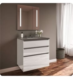 "Robern 30219100B00003 Curated Cartesian 30"" Three Drawer Vanity - White Glass, Stone Gray Top"
