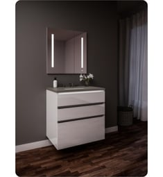 "Robern 24219100B00003 Curated Cartesian 24"" Three Drawer Vanity - White Glass, Stone Gray Top"