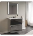 "Robern 36119400B00002 Curated Cartesian 36"" Double Drawer Vanity - Tinted Gray Mirror Glass, Silestone Lyra Top"